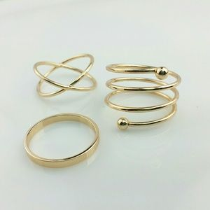 NEW 3 Piece Golden Stack Ring Set